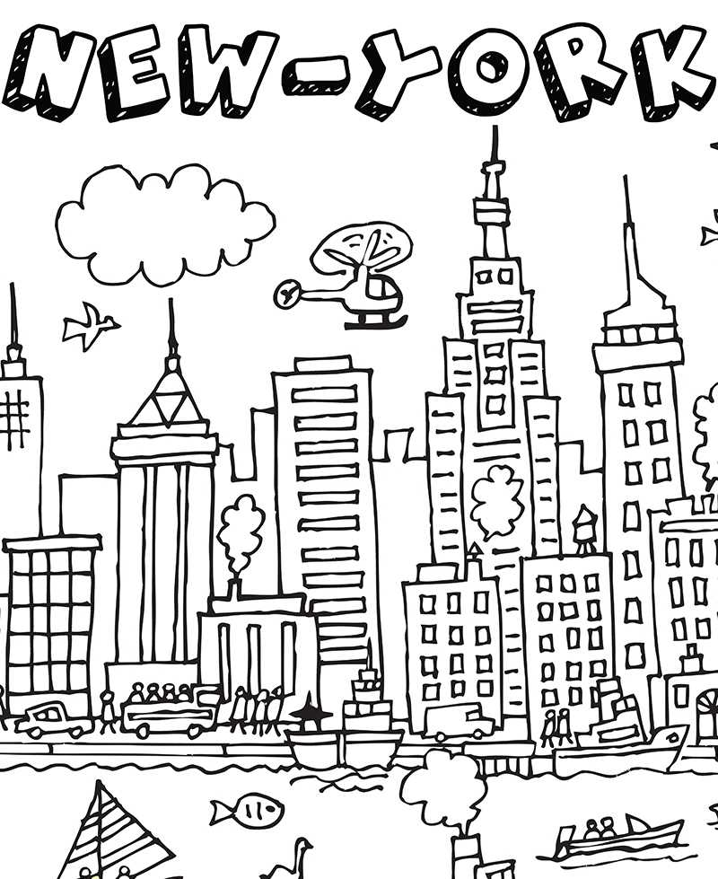 Cool Coloriage Ville De New York 24 Pour Coloriage idée for Coloriage Ville De New York
